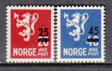 NORWAY 1949 COAT OF ARMS OVERPRINTED (NK 375-376)