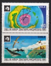 CHILE 1990 Antarctic Ships Polar Whales Penguins