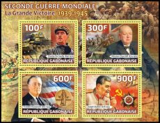 GABON 2020 World War II Stalin Churchill Gaulle Roosevelt